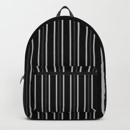 2 Silver 1 Dark Grey Three Stripes Pattern on Black | Vertical Stripes | Backpack