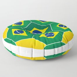 Football ball with Brazilian flag Floor Pillow