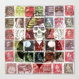 Dead Princess over Stamps Canvas Print