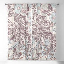 Floral vintage pattern with rose flowers and lily, vector graphic design Sheer Curtain