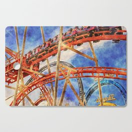 Fun on the roller coaster, close up Cutting Board