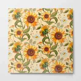 Sunflowers retro pattern Metal Print