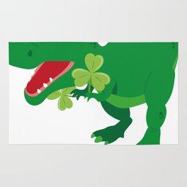 Lucky Dinosaur Shamrocks Funny Kids St. Patrick's Day Rug