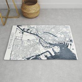 Copenhagen Map Indigo Blue Watercolor by Zouzounio Art Rug