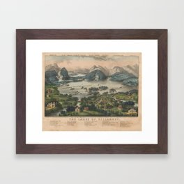 Vintage Lakes of Killarney Pictorial Map (1868) Framed Art Print
