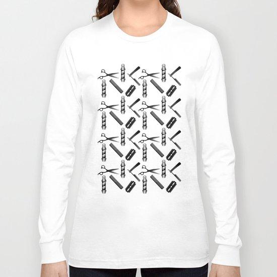 Barber Shop Pattern Long Sleeve T-shirt