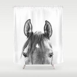 peekaboo horse, bw horse print, horse photo, equestrian print, equestrian photo, equestrian decor Shower Curtain