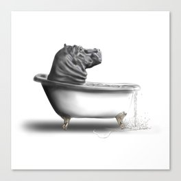 Hippo in Bath Canvas Print
