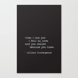 Shakespeare Quote: LOVE (white on black) Canvas Print