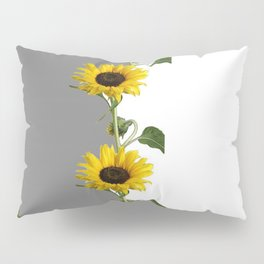 LINEAR YELLOW SUNFLOWERS GREY & WHITE ART Pillow Sham