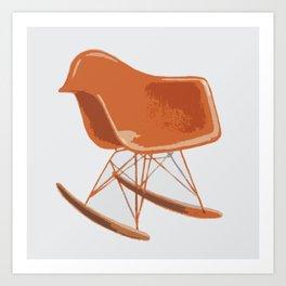 Mid-Century Rocker Chair - Orange Art Print