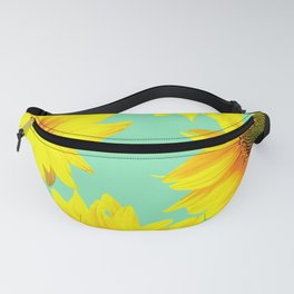 Sunflowers on a pastel green backgrond - #Society6 #buyart Fanny Pack