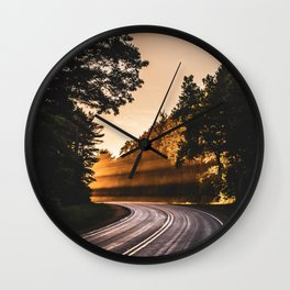 Bright Light Along the Road in Wisconsin Wall Clock