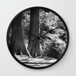 Two trees stand together in Japanese Garden Wall Clock