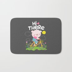 Pig on a bike Bath Mat