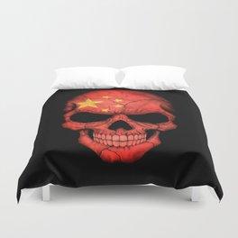 Dark Skull with Flag of China Duvet Cover