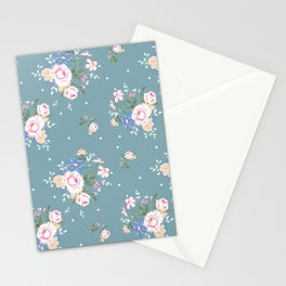 Heirloom Rose - Teal Stationery Cards