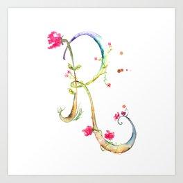 Letter R watercolor - Watercolor Monogram - Watercolor typography - Floral lettering Art Print