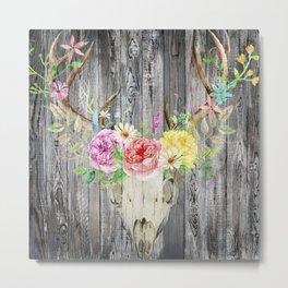 Rustic Floral Bull Skull Metal Print