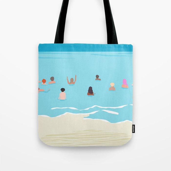 Stoked - memphis throwback retro neon pop art illustration socal cali beach surfing swimming sea Tote Bag