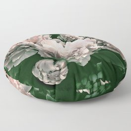 Peonies Green and Pink Blush Floor Pillow
