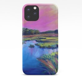 Pink Sunset Marsh Oil Painting by Katie Wall Art iPhone Case