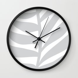 Palm Frond in Gray Wall Clock
