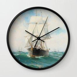 Vintage Swedish Sailboat Painting (1887) Wall Clock