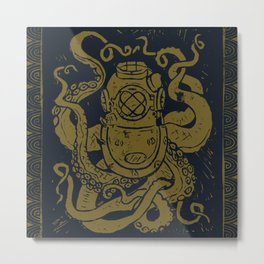 Mark V Octopus - gold Metal Print