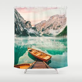 Boats on the lake Shower Curtain
