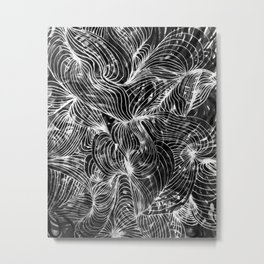 black and white lines abstraction Metal Print