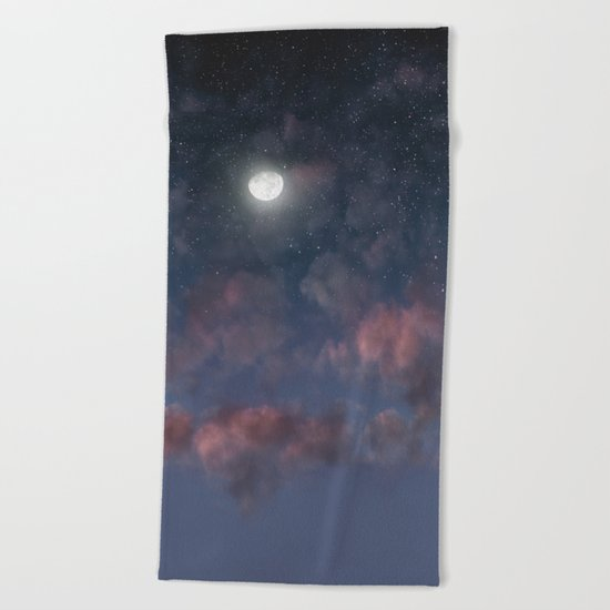 Glowing Moon on the night sky through pink clouds Beach Towel