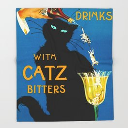 Mix Your Drinks with Catz (Cats) Bitters Aperitif Liquor Vintage Advertising Poster Throw Blanket