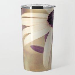 Daisy Flower Photography, Burgundy Cream Beige Brown, Neutral Floral Nature Daisies Photo Travel Mug