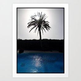 Blu palm Art Print
