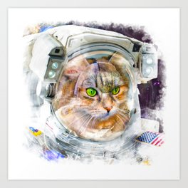 Space Cat Watercolor Art Print