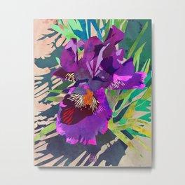 Watercolor Iris Flower with Shadows - Bright Purple & Pink Metal Print