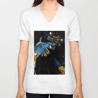 senna V-neck T-shirts featuring Ayrton Senna 1985 Lotus  by Borja Sanz