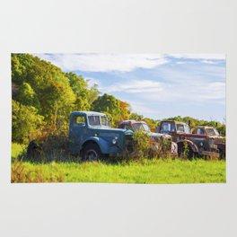 Antique Trucks in Autumn Rug