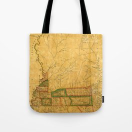 Map Of Mississippi 1820 Tote Bag