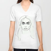 cara delevingne V-neck T-shirts featuring Cara delevingne by Mary Naylor
