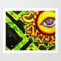 psychadelic Art Prints featuring Psychadelic sun by Annabomb