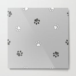 Black and white paw print pattern with grey background Metal Print