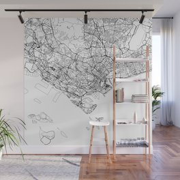Singapore White Map Wall Mural