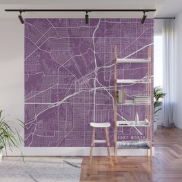 Fort Worth Map, USA - Purple Wall Mural