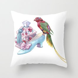 A box with a crystal handle, a baroque shoe and a bright parrot Throw Pillow
