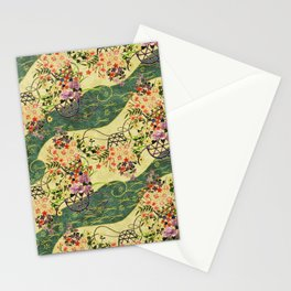 Vintage green and gold oriental floral pattern Stationery Cards