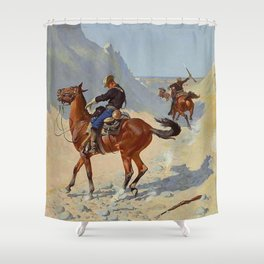 "Frederic Remington Western Art ""The Advance Guard"" Shower Curtain"