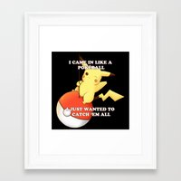 pokeball Framed Art Prints featuring Pokeball by Mie Kristensen