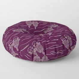 Sea Otters on Dark Raspberry Floor Pillow